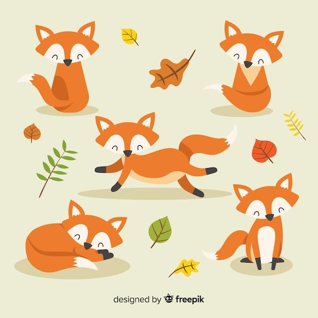 Colección de zorros dibujados a mano vector gratuito