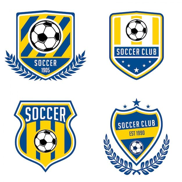 Colecciones de logos de futbol Vector Premium