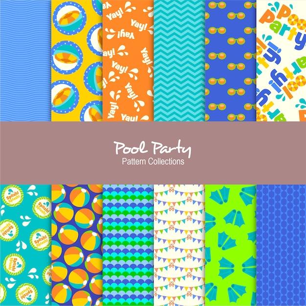 Colecciones de patrones de fiesta en la piscina Vector Premium