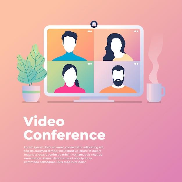 Los colegas hablan entre ellos en la pantalla de la computadora. videoconferencia, trabajando desde casa. Vector Premium