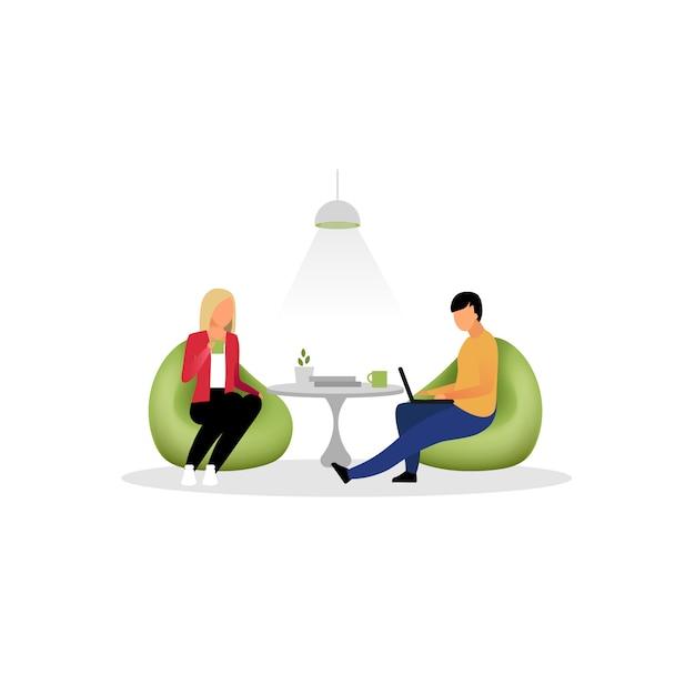 Los colegas tienen descanso ilustración plana. compañeros de trabajo, empleados en la zona lounge. empleados de oficina, gerentes bebiendo té personajes aislados de dibujos animados. programadores, diseñadores trabajando Vector Premium