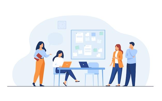Colegas trabajando juntos en proyecto vector gratuito