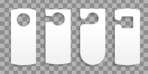 Colgadores de puerta para una habitación en un hotel o resort aislado sobre fondo transparente. colección de varias etiquetas de colgadores de puerta en blanco o plantillas de etiquetas sin texto. no molestar. ilustración. Vector Premium