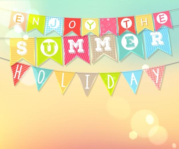 Colgando coloridas banderas con inscripción. vacaciones de verano y vacaciones Vector Premium