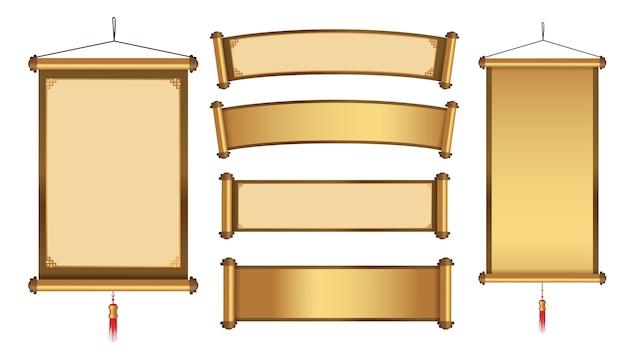 Colgante chino colección de banners para elemento gráfico en tema de oro Vector Premium