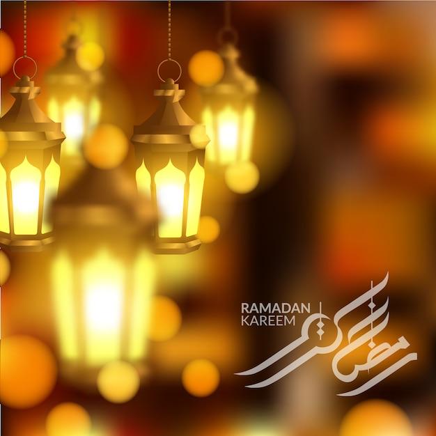 Colgante linterna islámica 3d para plantilla de tarjeta de felicitación de ramadán kareem Vector Premium