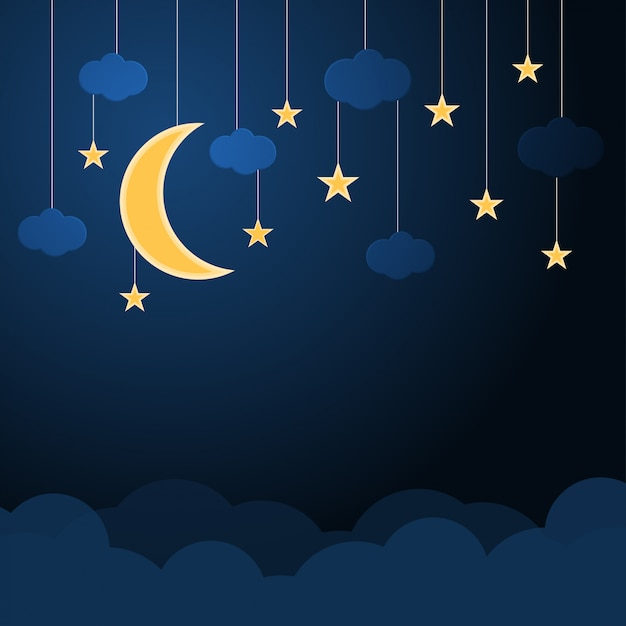 Colgante de media luna y estrella con nubes en un cielo azul nocturno Vector Premium