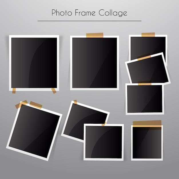 Collage de marcos de fotos con estilo realista | Descargar Vectores ...