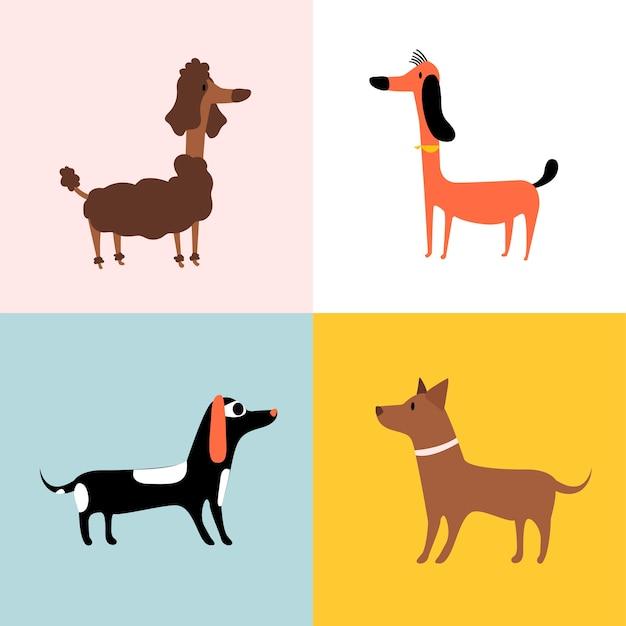 Collage de diferentes razas de perros. vector gratuito