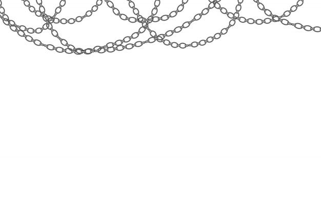 Collar de plata. cadena de platino. joyas brillantes de lujo. Vector Premium