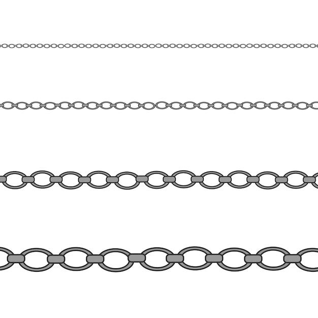 Collar de plata y platino. cadena de joyería brillante de lujo. Vector Premium
