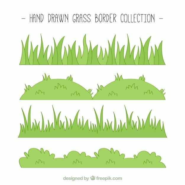 Collección dibujada a mano de bordes de hierba verde vector gratuito