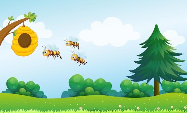 Una colmena sobre la colina con tres abejas. vector gratuito