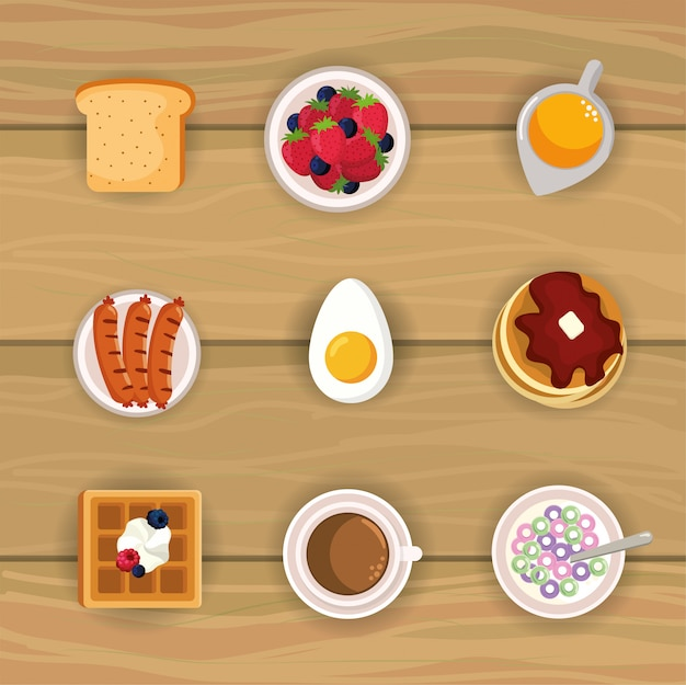 Coloca deliciosa comida de desayuno con nutrición proteica. Vector Premium