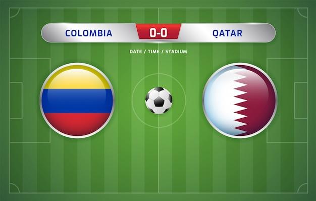 Colombia vs qatar marcador marcador fútbol torneo de américa del sur 2019, grupo b Vector Premium