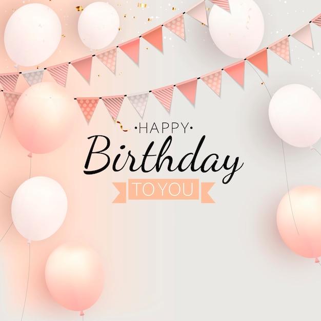 Color brillante feliz cumpleaños globos banner fondo ilustración Vector Premium