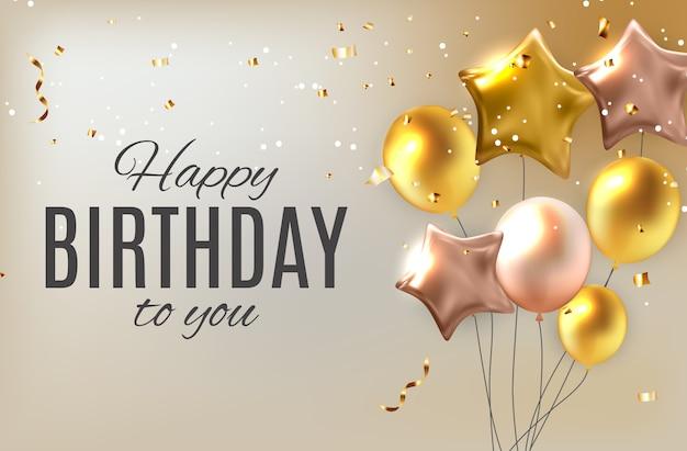 Color brillante feliz cumpleaños globos saludo ilustración Vector Premium