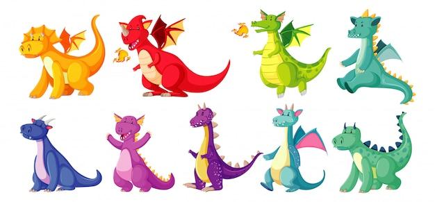 Color diferente del dragón en color en estilo de dibujos animados sobre fondo blanco. vector gratuito