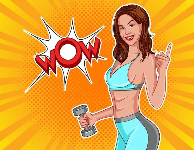 Color ilustración vectorial en estilo cómic pop art. la niña con pesas Vector Premium
