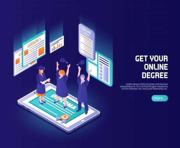 Color de lecciones en línea con gente divertida con sombreros de magistratura en la pantalla del teléfono con título de diploma isométrico vector gratuito