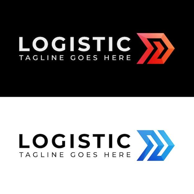 Color moderno logística entrega dos versiones logo Vector Premium