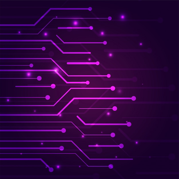 Color morado del concepto de seguridad cibernética con tecnología ...