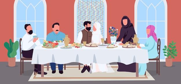 Color plano de boda musulmana. novio y novia en mesa festiva. celebre con parientes indios con comida. matrimonio personajes de dibujos animados en 2d con el interior de la casa en el fondo Vector Premium