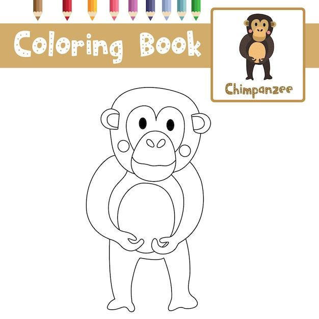 Colorear chimpancé | Descargar Vectores Premium