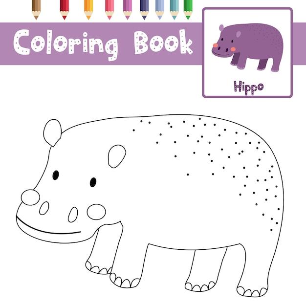 Colorear hipopótamo. | Descargar Vectores Premium