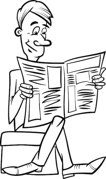 Colorear Hombre Con Periódico Descargar Vectores Premium