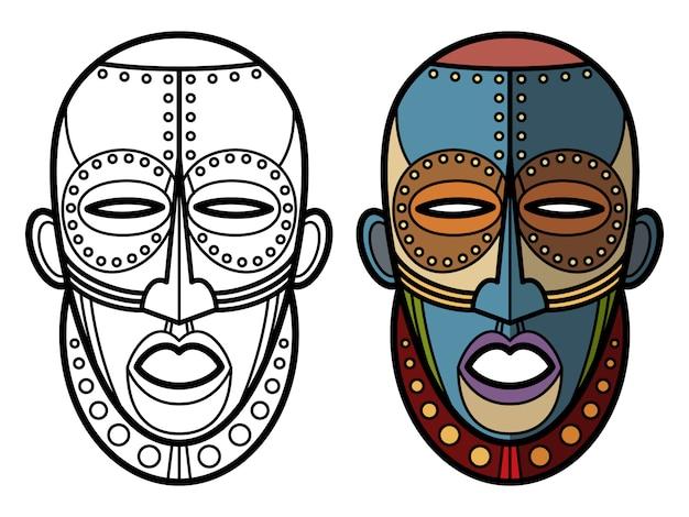 Colorear Mascaras Aztecas Indias Mexicanas Vector Premium