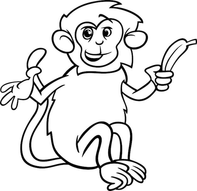 Colorear mono con plátano | Descargar Vectores Premium