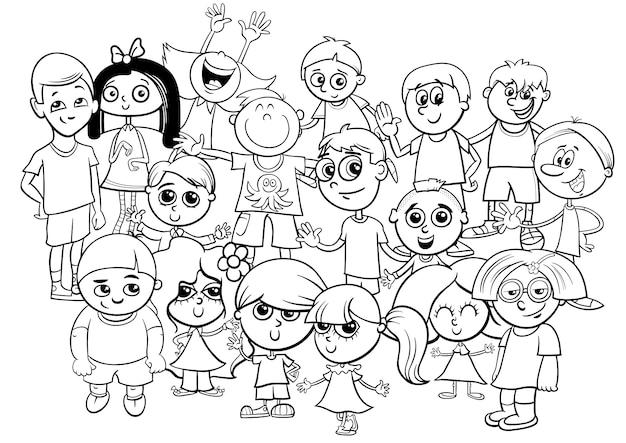 Colorear Niños Grupo De Personajes