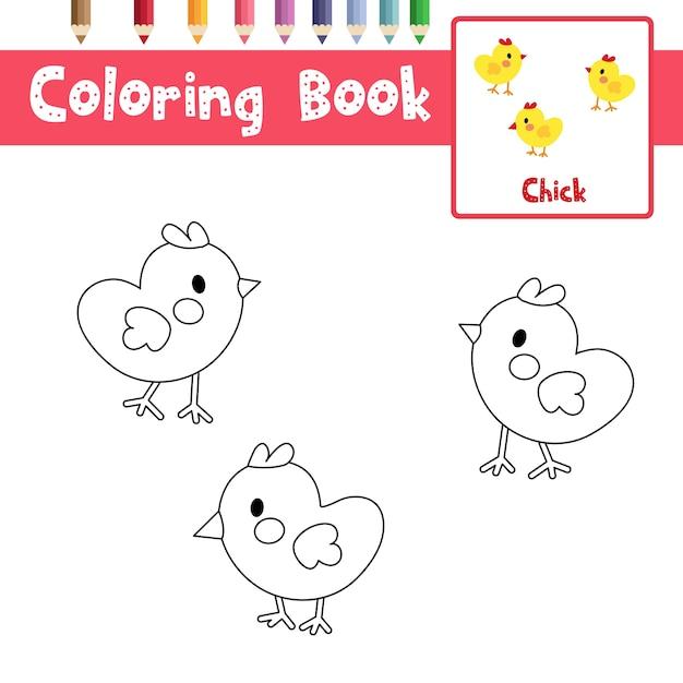 Colorear pollitos   Descargar Vectores Premium