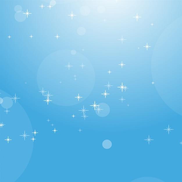 Coloree el fondo abstracto del cielo azul con el bokeh y las estrellas. Vector Premium