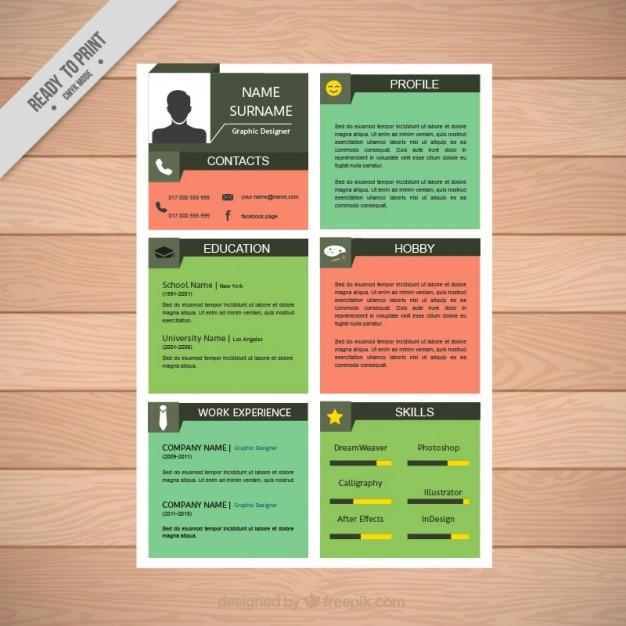 Colores cuadrados reanudar la plantilla | Descargar Vectores gratis