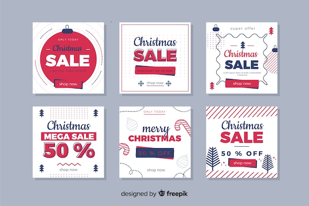 Colorful christmas sale instagram post collection vector gratuito