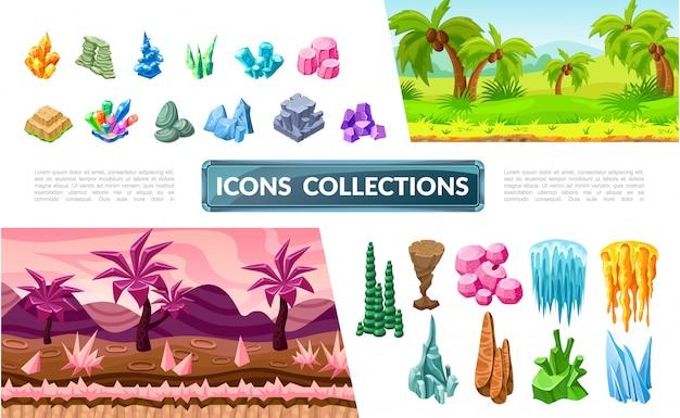 Colorida colección de elementos del paisaje del juego con paisajes tropicales y de fantasía piedras brillantes minerales y cristales vector gratuito