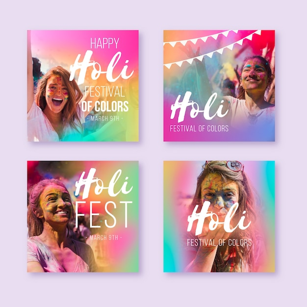 Colorida colección de historias de redes sociales con retratos femeninos. vector gratuito