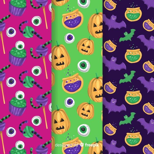 Colorida colección de patrones de halloween dibujados a mano vector gratuito