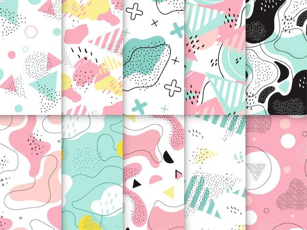 Colorida colección de patrones de memphis Vector Premium