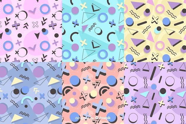 Colorida colección de patrones de memphis vector gratuito