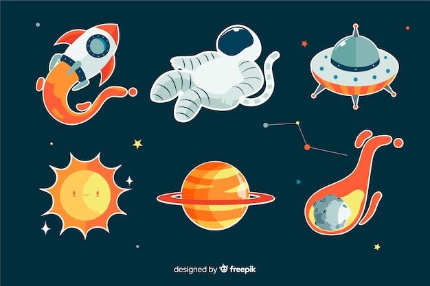 Colorida colección de pegatinas espaciales vector gratuito