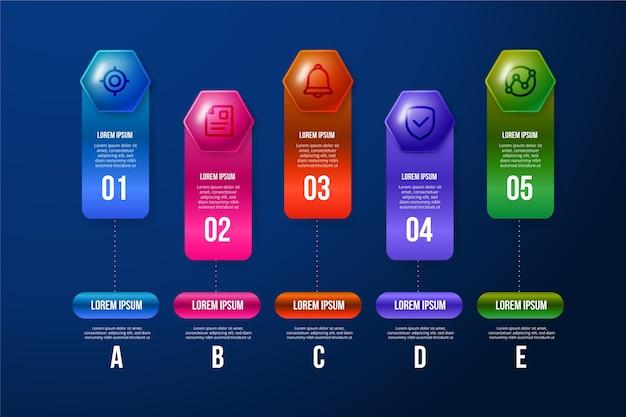 Colorida infografía brillante 3d vector gratuito