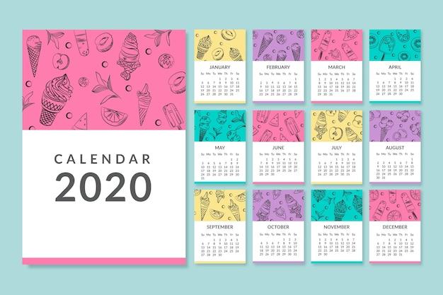 Colorida plantilla de calendario mensual 2020 vector gratuito