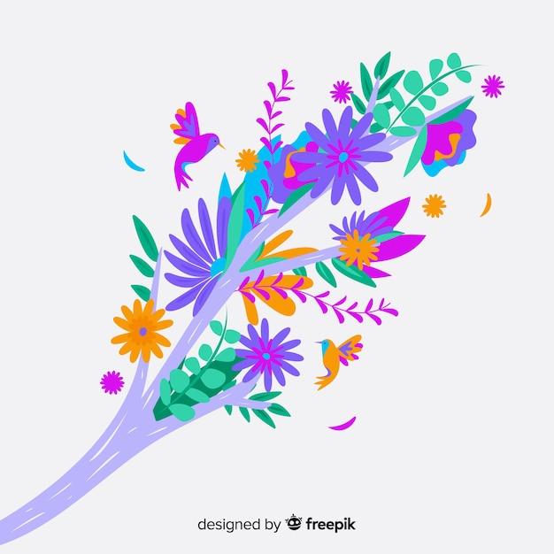 Colorida rama floral en diseño plano vector gratuito
