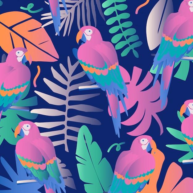 Colorida selva tropical deja fondo con loros. Vector Premium