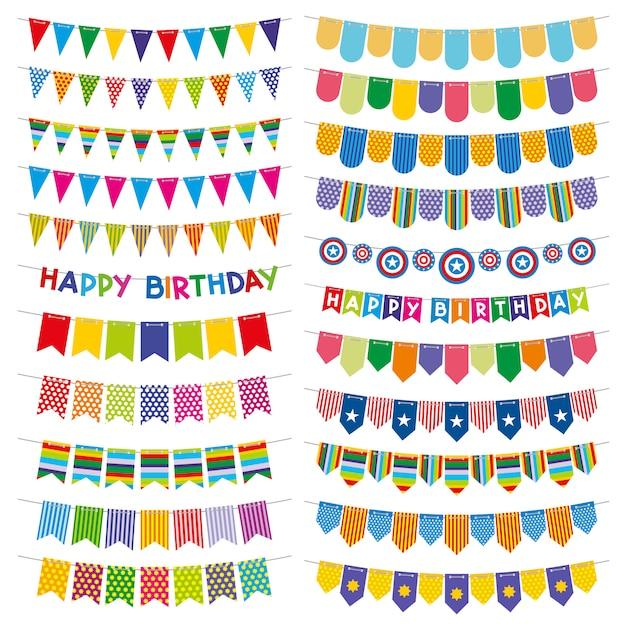Coloridas banderas del empavesado y guirnaldas. decoración de fiesta de cumpleaños Vector Premium