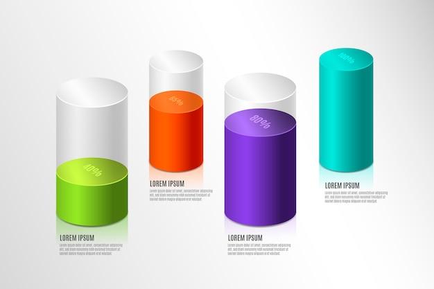 Coloridas barras 3d infografía vector gratuito