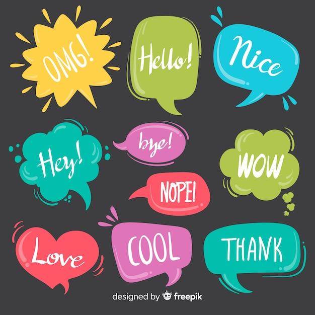 Coloridas burbujas de discurso con diferentes expresiones vector gratuito